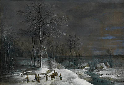 Painting - Winter Landscape With Snowy Water Mill And Figures by Lucas van Uden