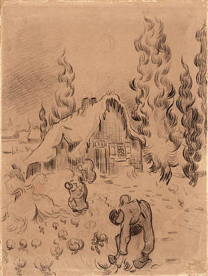 Winter Landscape With Working Figures, 1890 Art Print