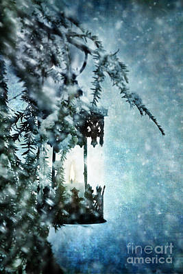 Snowy Night Photograph - Winter Lantern by Stephanie Frey