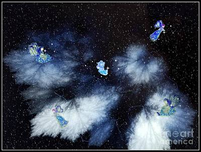 Digital Art - Winter Leaves And Fairies by Diamante Lavendar