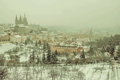 Photograph - Winter Lesser Town Vintage. Snowy Walk In Prague by Jenny Rainbow