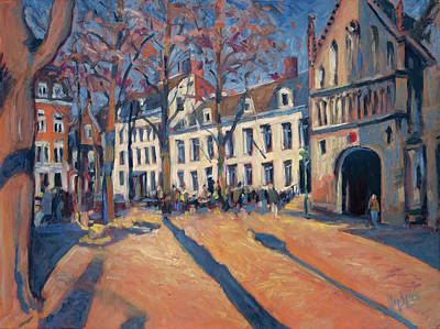Lights Painting - Winter Light At The Our Lady Square In Maastricht by Nop Briex