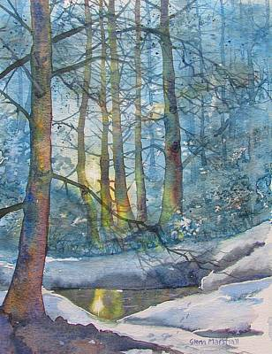 Painting - Winter Light In The Forest by Glenn Marshall