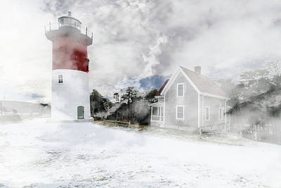 Photograph - Winter Lighthouse Textured by Constantine Gregory