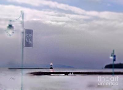 Photograph - Winter Lights To Rock Point Digital Painting Of Evening Sentries At The Coast Guard Station by Felipe Adan Lerma