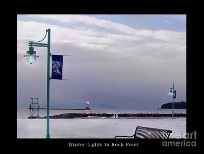Photograph - Winter Lights To Rock Point Poster - Derivative Of Evening Sentries At The Coast Guard Station by Felipe Adan Lerma