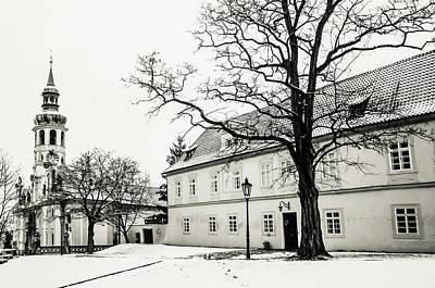Photograph - Winter Loreta Black And White 1. Snowy Walk In Prague by Jenny Rainbow