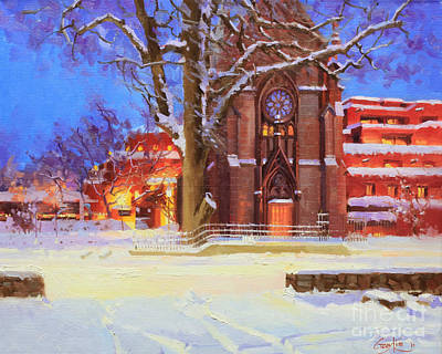 Cafes Painting - Winter Lorreto Chapel by Gary Kim