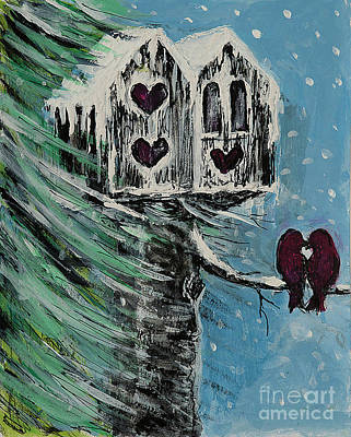 Painting - Winter Love Birds by Pati Pelz