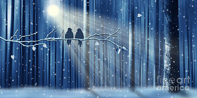 Snowfall Mixed Media - Winter Love by Monika Juengling