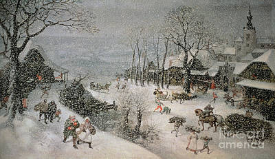 Horse And Carriage Painting - Winter by Lucas van Valckenborch