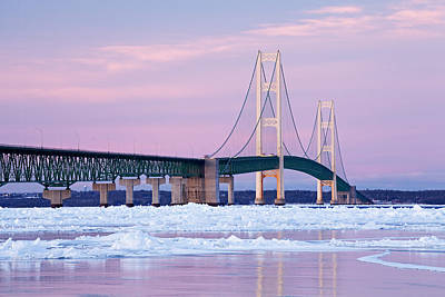 Michigan Mackinac Photograph - Winter Mackinac Bridge by Dean Pennala