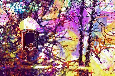 Manger Digital Art - Winter Manger Feeder Birds Bird  by PixBreak Art