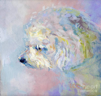 Bichon Frise Dog Painting - Winter Mickee by Kimberly Santini