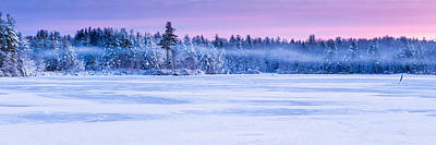 Photograph - Winter Mist Baxter Lake New Hampshire by Jeff Sinon