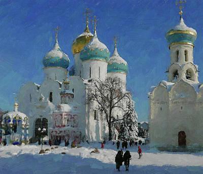 Digital Art - Winter Monastery In Snow 1 by Yury Malkov
