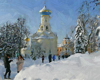 Digital Art - Winter Monastery In Snow 2 by Yury Malkov
