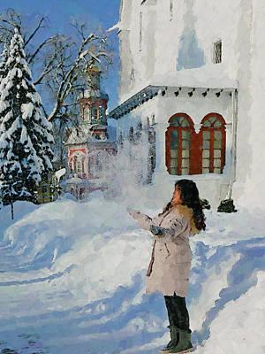 Digital Art - Winter Monastery In Snow 3 by Yury Malkov