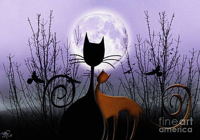 Art Print featuring the digital art Winter Moon Cats In Love by Rosa Cobos