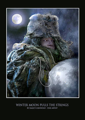 Digital Art - Winter Moon Pulls Strings Card Design by Nancy Griswold