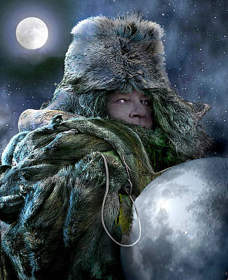 Digital Art - Winter Moon Pulls The Strings Poem And Art by Nancy Griswold