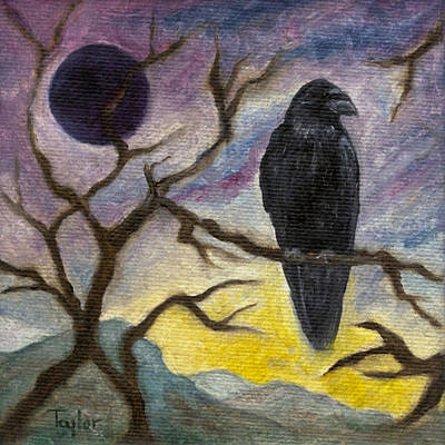 Painting - Winter Moon Raven by FT McKinstry