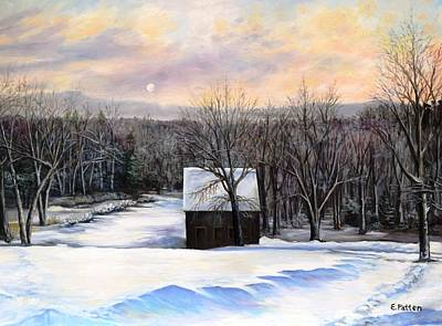 Painting - Winter Moonset by Eileen Patten Oliver