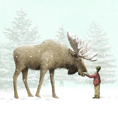 Pine Trees Drawing - Winter Moose by Eric Fan