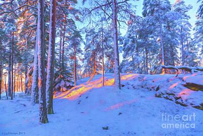 Hoarfrost Wall Art - Digital Art - Winter Morning 2 by Veikko Suikkanen