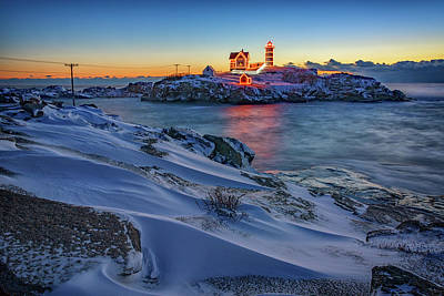 Cape Neddick Lighthouse Photograph - Winter Morning At Cape Neddick by Rick Berk