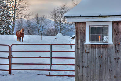 Photograph - Winter Morning - Barn In Snow by Joann Vitali