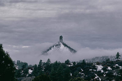 Photograph - Winter Morning Fog Envelops Chimney Rock by Jason Coward