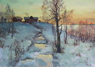 Namaste With Pixels - Winter morning in village on lake by Mark Kremer