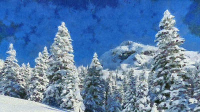 Painting - Winter Morning Landscape - Snow Pine Trees On A Mountain by Wall Art Prints
