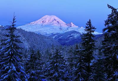 Photograph - Winter Morning With Mount Rainier by Lynn Hopwood