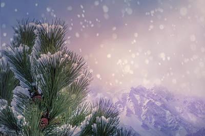 Winter Mountain Scene With Snow Falling  Art Print