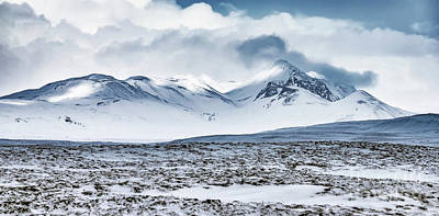 Photograph - Winter Mountains Landscape, Iceland by Anna Om