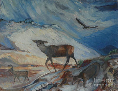 Painting - Winter Mule Deer by Dawn Senior-Trask and Willoughby Senior
