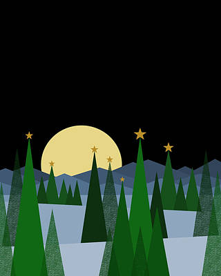 Winter Night Full Moon Art Print
