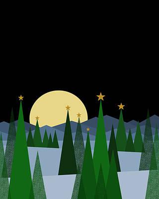 Digital Art - Winter Night Full Moon by Val Arie