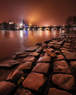 Winter Night Near Charles Bridge In Prague, Czech Republic Art Print