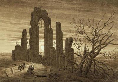 Winter Night Drawing - Winter - Night - Old Age And Death by Caspar David Friedrich