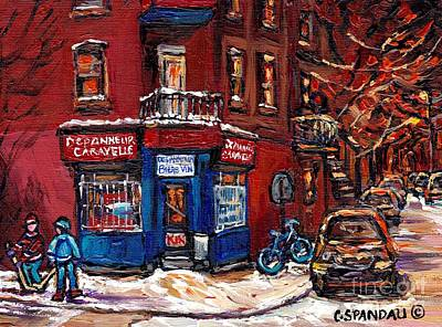 Street Hockey Painting - Winter Night Scene Street Hockey Painting Depanneur Caravelle Rue Dufresne Best Montreal Art Scenes by Carole Spandau