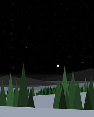 Digital Art - Winter Night Sky by Val Arie