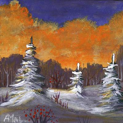 Painting - Winter Nightfall #2 by Anastasiya Malakhova
