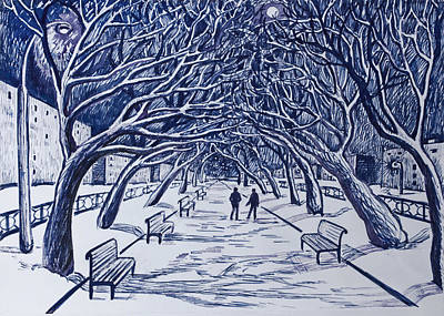 Winter Night.on The Walkway In The Park. Art Print by Olga Goncharenko