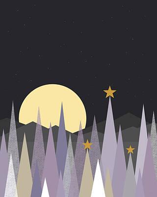 Digital Art - Winter Nights - Vertical by Val Arie
