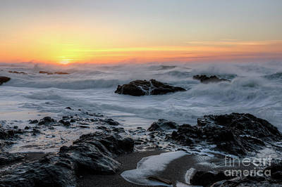 Winter Ocean At Sunset Art Print