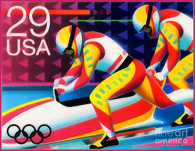 Olympic Hockey Painting - Winter Olympics - Bobsledding by Lanjee Chee