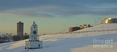 Halifax Town Clock Painting - Winter On Citadel Hill Halifax by John Malone